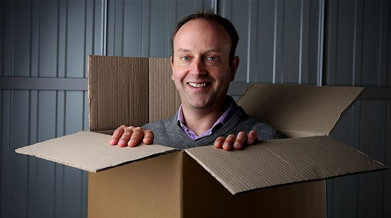 Man in a storage box