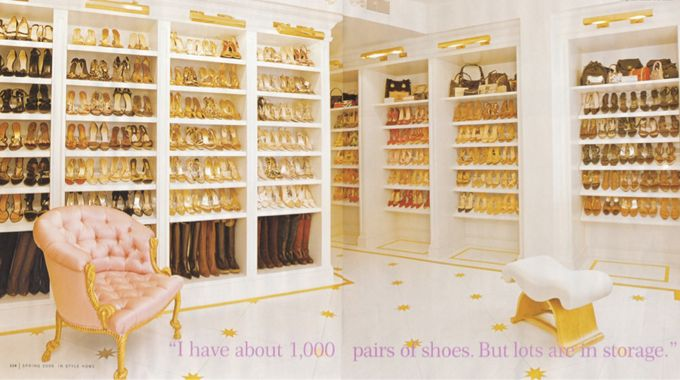 Shoes in storage