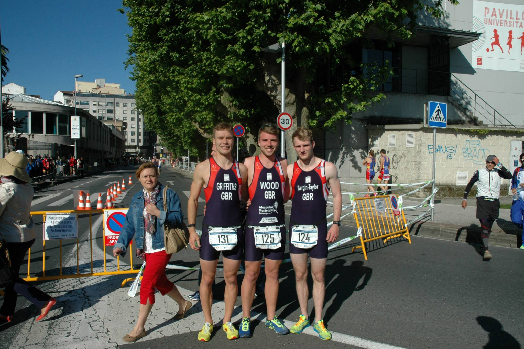 Triathletes after race