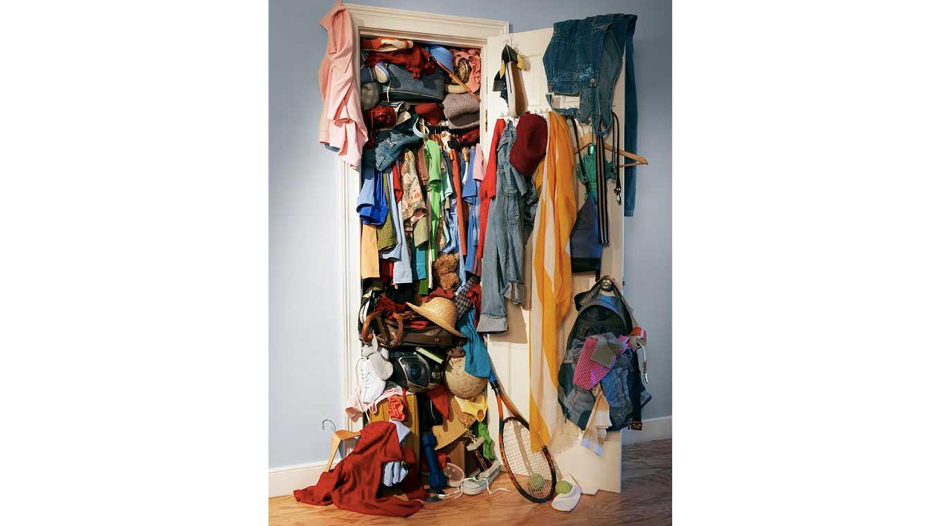 Student over-filled wardrobe