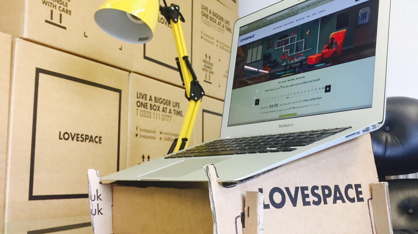 Upcycled LOVESPACE storage box into a laptop stand