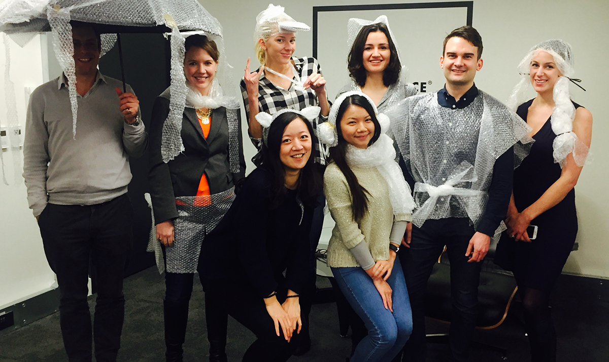 The LOVESPACE Team showing some serious Bubble Wrap Style for Bubble Wrap Appreciation Day
