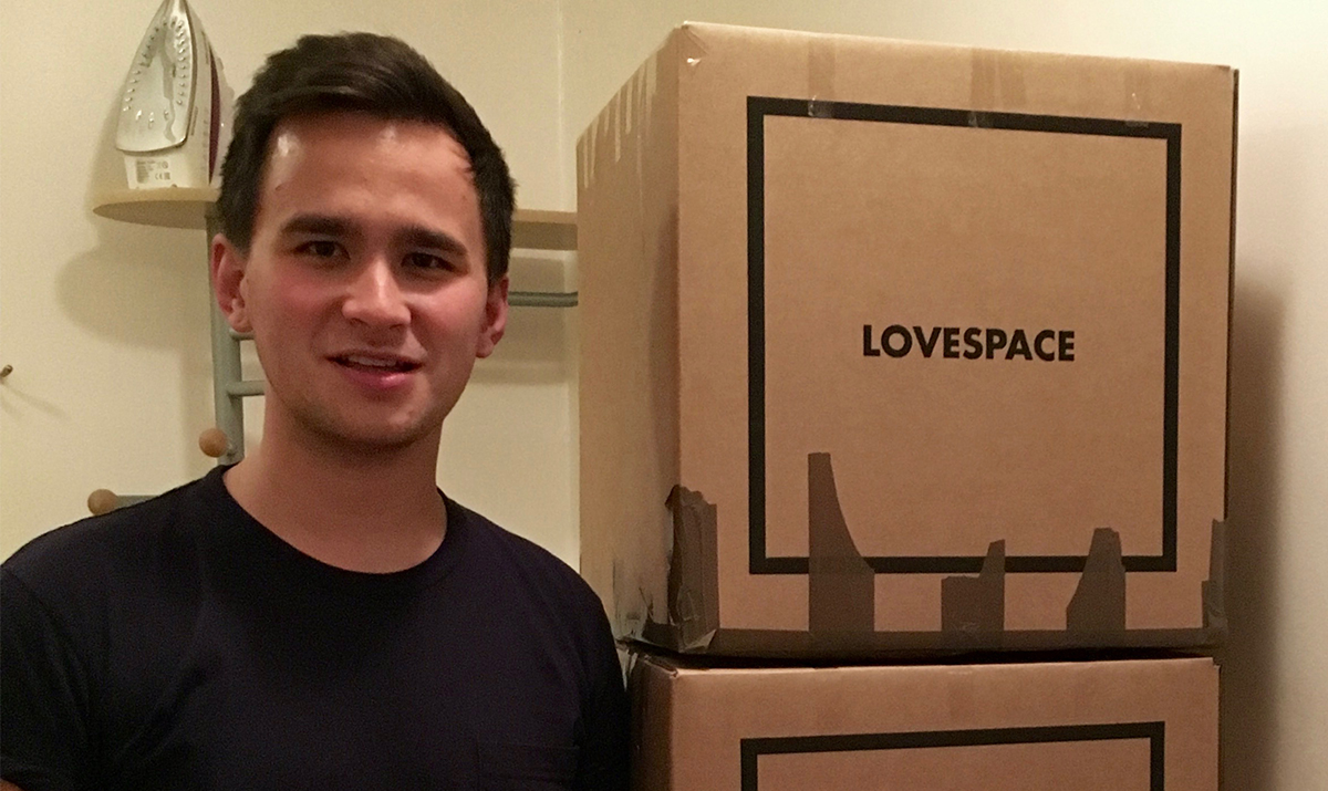 Zack Young with his LOVESPACE boxes