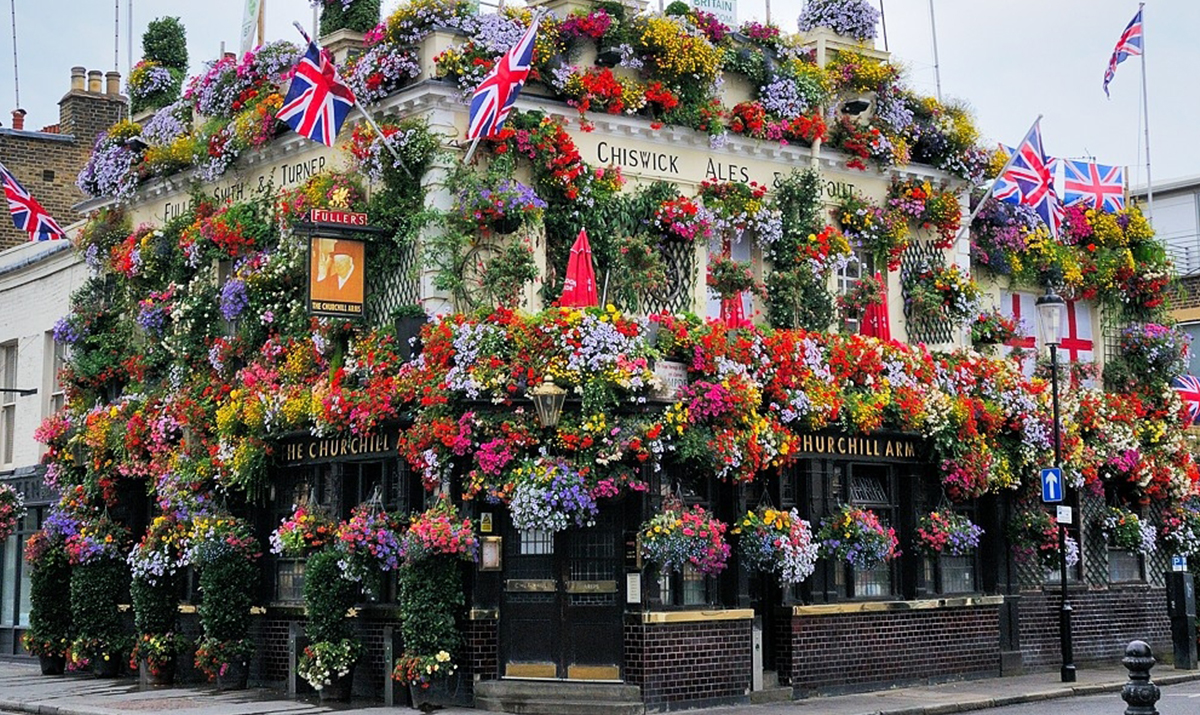 Churchill Arms in bloom, Notting HIll, London. W8