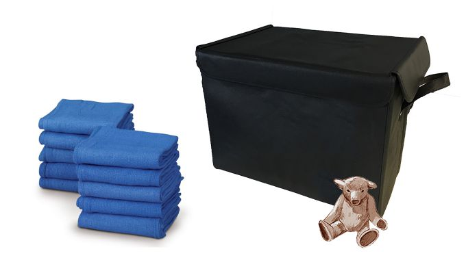Clothes box with teddy bear