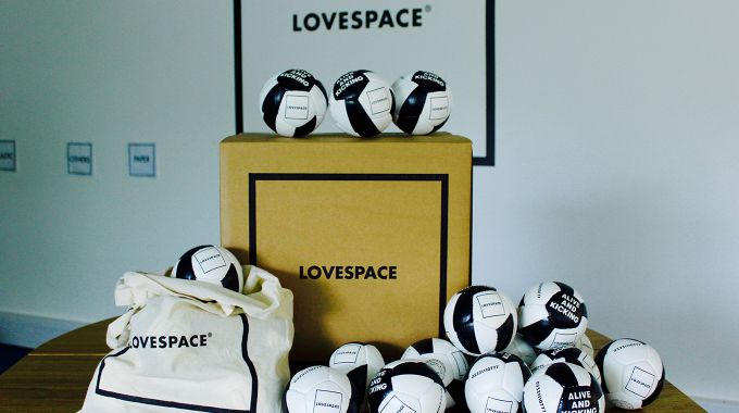 LOVESPACE box with footballs